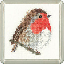 Heritage Crafts Little Friends Cross Stitch Kit  Robin Coaster