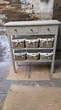 H80 W80 D30cm BESPOKE LAURA ASHLEY FRENCH GREY CONSOLE TABLE 3 DRAWER 2 SHELVES