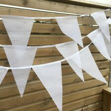 White Wedding Bunting - Luxury white fabric bunting 90ft 100 flags