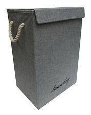 GREY/DENIM FOLDING BOX SHAPE LAUNDRY BASKET WASHING CLOTHES HAMPER LINING