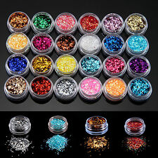 GTI - 24 Sparkle Glitter Dust Powder Hexagon Nail Art Decoration 1MM