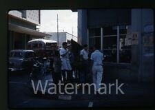 1961 Kodachrome Photo slide Bus   Wood carver  sculpture bicycle Central America