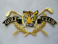 "#3675 8-1/2"" Golf,Tiger head w/Golden Word GOLF CLUB Embroidery Applique Patch"