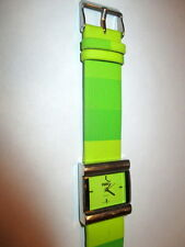 PUMA LADIES WOMENS LIME GREEN W/CHROME BEZEL CASUAL WATCH MULTICOLORED BAND