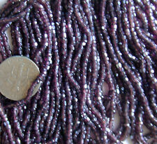 Vintage Antique Glass Seed Beads Dark Deepest Purple Facet Cut 4Mini Hanks SALE!