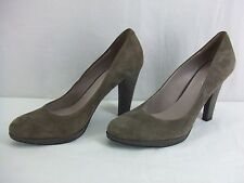 Nine West Taupe Suede Leather High Heel  Pumps Womens Size 8.5 Med. EUC c