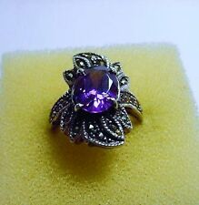 Vintage Sterling Silver and Amethyst Ring with Marcasite, Size 5