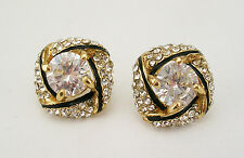 Joan Rivers Enameled and Crystal Button Earrings (w/JR card, pouch and box)