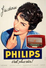 Original Vintage Poster Jai Choisi Philips - Large by Lorelle 1956 TV Radio