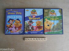 DISNEY WINNIE THE POOH STORIES FROM THE HEART, MAKE BELIEVE &  ABC & 123 3 DVDS