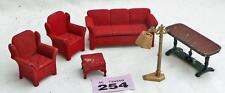 #254 Vintage Tootsietoy dolls house lamp, red flock living room set, table