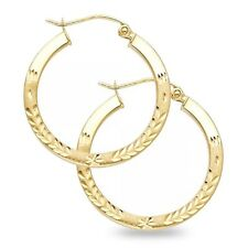Round Diamond Cut Hoop Earrings Solid 14k Yellow Gold French Lock Polished