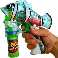 LED Fish Bubble Gun Toy Blaster Squirt Blower Flashing Light Up Party Favor NWOP