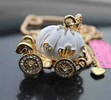 D546W  Betsey Johnson Crystal Enamel pumpkin car Pendant Sweater Chain Necklace