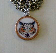 """Lucky Penny Pendant Day of the Dead KITTY CAT SUGAR SKULL Charm 24"""" Necklace"""