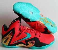 NIKE LEBRON XI 11 ELITE SUPER HERO PACK LASER CRIMSON-GREEN SZ 14 [642846-600]