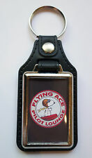 FLYING ACE PILOT LOUNGE FAUX LEATHER KEY RING,SNOOPY, AIRCRAFT, NOVELTY,ICONIC