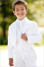White Page Boys Wedding Party Prom Suit Boys Kids Teenagers Graduation Tailcoat