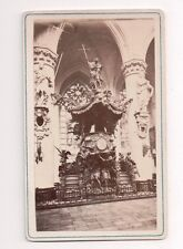 Vintage CDV Pulpit in Cathedral of St. Michael and St. Gudula Brussles Belgium
