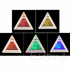 New 7 Color LED Color Changing Digital Triangle Pyramid Thermometer Alarm Clock
