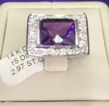 14 K White  Gold Emerald Cut  faceted Amethyst & White diamonds Cocktail Ring.