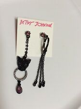 Betsey Johnson Black-Tone Panther Ring Mismatch Earrings $40