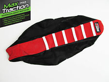 HONDA CRF250 CRF250R 2010 2011 RIBBED SEAT COVER BLACK + RED WHITE STRIPES RIBS