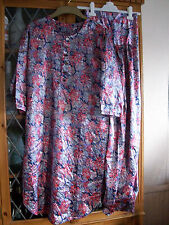 PURPLE FLORAL INDIAN TUNIC TOP & TROUSERS UK8 **GC**