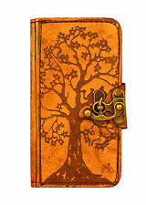Tree of Life Decoration iPhone 6 Case Handmade Brown Vintage Real Leather Wallet