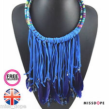 NEW BLUE FEATHER TASSELS STATEMENT CHOKER NECKLACE WOMENS STRING MULTILAYER UK
