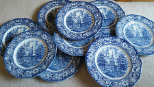 LIBERTY BLUE Staffordshire ~ Historic Colonial Scenes Dinner Plates ~ Set of 10