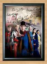 Merlin Cast Bradley James Colin Morgan Signed Autograph A4 Print Poster TV Show