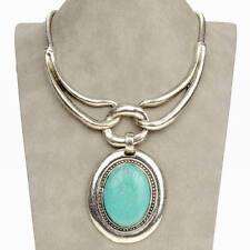 Excellent Vintage Oval Tribal Genuine Turquoise Statement Charm Necklace Pendant