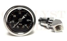 60 PSI Oil Pressure Gauge with Adapter Fitting for Shovelhead & Big Twin
