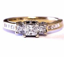14k Yellow gold .88ct SI3 H diamond 3 stone engagement ring 4.4g vintage estate