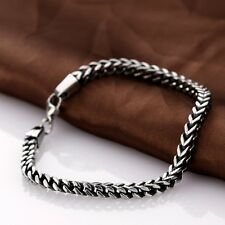 Men's Stainless Steel Bracelet Bangle Wristband Chain Link Cuff Biker Silver