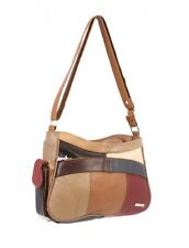 WOMEN'S LADIES PATCHWORK LEATHER HANDBAG SHOULDER BAG LORENZ LIGHTWEIGHT