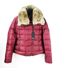TUMI STOCKHOLM DOWN BURGUNDY JACKET REAL RABBIT FUR COLLAR SIZE XS BRAND NEW
