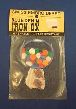 Vintage Blue Denim White Gumball Candy Machine Iron On Patch Sealed