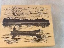 Northwoods Rubber Stamps Wood Mounted Man Canoe Lake Father's Day Sunset