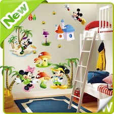 Mickey & Minnie Mouse Wall Stickers Animal Tree Baby Nursery Bedroom Decal Decor