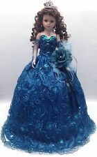 NEW Teal Blue 28 inch Mis 15 XV Anos Quinceanera Porcelain Party Umbrella Doll