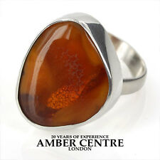 BUTTERSCOTCH BALTIC AMBER RING 925 SILVER  SIZE Q1/2 – WR050 – RRP£100!!!