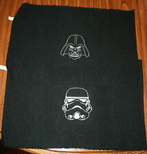 STAR WARS BLACK Ribbed Placemats 2 w/Stormtrooper & DarthVader white embroidery