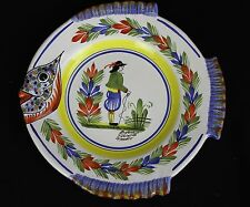 Henriot Quimper France Fish Shaped Plate Breton Man Handpainted French Faience