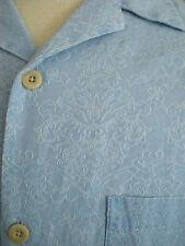 Nat Nast Silk Blend - Mens Camp / Button / Hawaiian Shirt sz M - Blue  w/ Wh