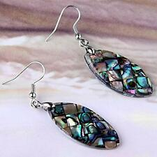 "Oval Abalone Paua Shell Long Dangle Earrings 1.3x0.6"" HOT"