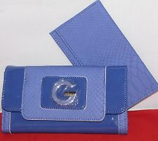 "NWT GUESS Royal Blue ""Belva""  faux embossed croc clutch checkbook wallet 2-pcs"