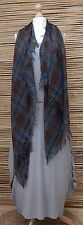 OVERSIZE*COTTON* VERY SOFT HIGHLAND TARTAN FRAYED SCARF*BROWN/GREEN/BLUE/RUST*