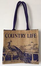 New Country Life Violet Blue Peacock Print On Sisal Canvas Shopper Tote Handbag